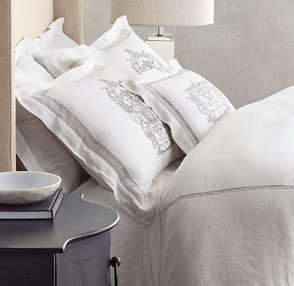 Wentworth Crest Vintage Washed Belgian Linen Bedding Collection Belgian Linen Bedding Bedding Collections Linen Bedding