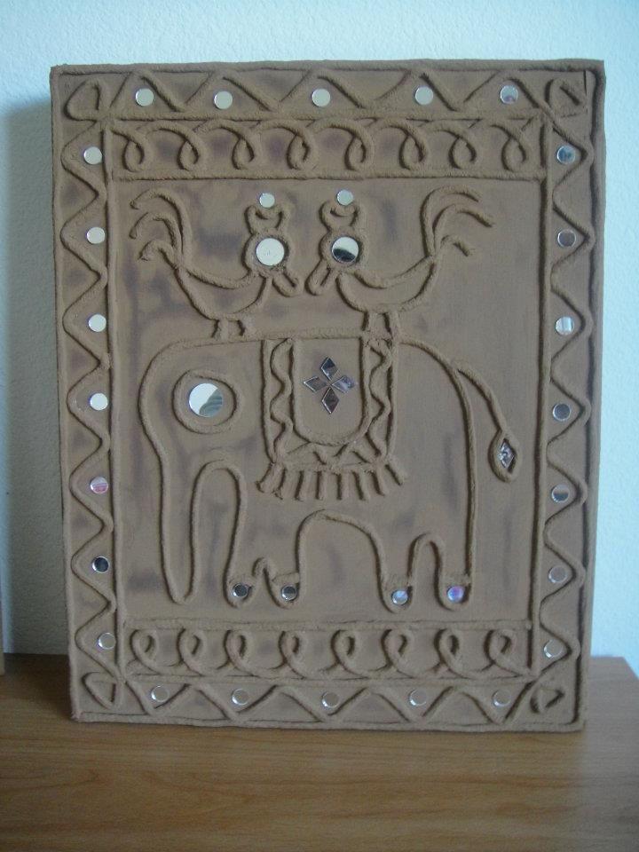 Pin By Dhanshree On Aaa Tribal Art Warli Art Clay Wall Art Mini Canvas Art Mirror Crafts