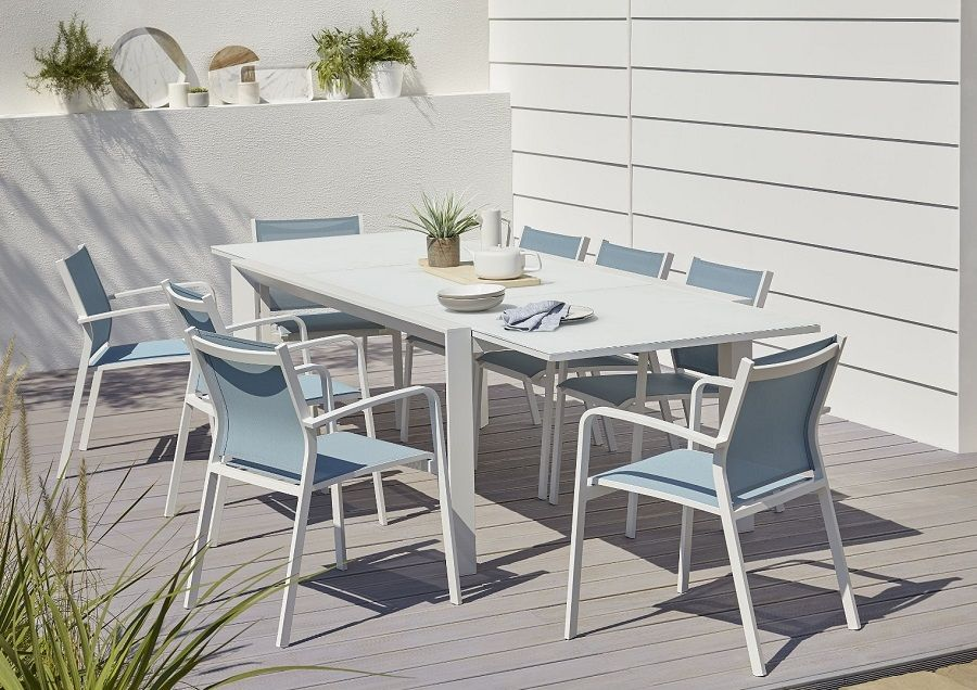 Lot Table De Jardin Aluminium Et Verre Blooma Bacopia 6