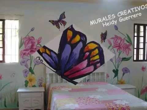 Mural De Flores Y Mariposas Decoracion Habitacion Paola Shantal