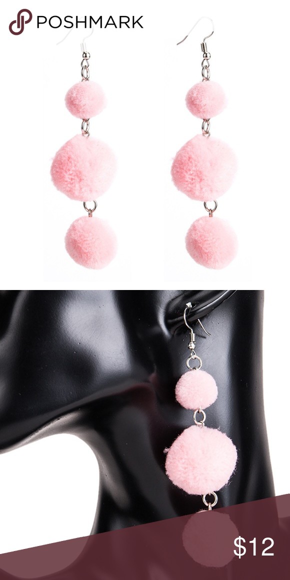 5bffca536 LUCY | Pink Pom Pom Drop Dangle Earrings Pink Pom Pom Drop Dangle Trendy  Earrings Measurements