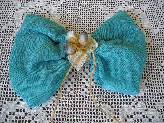 Blue linen bow christening  baptism favor by FavorsAndMorebyFiona, $3.35