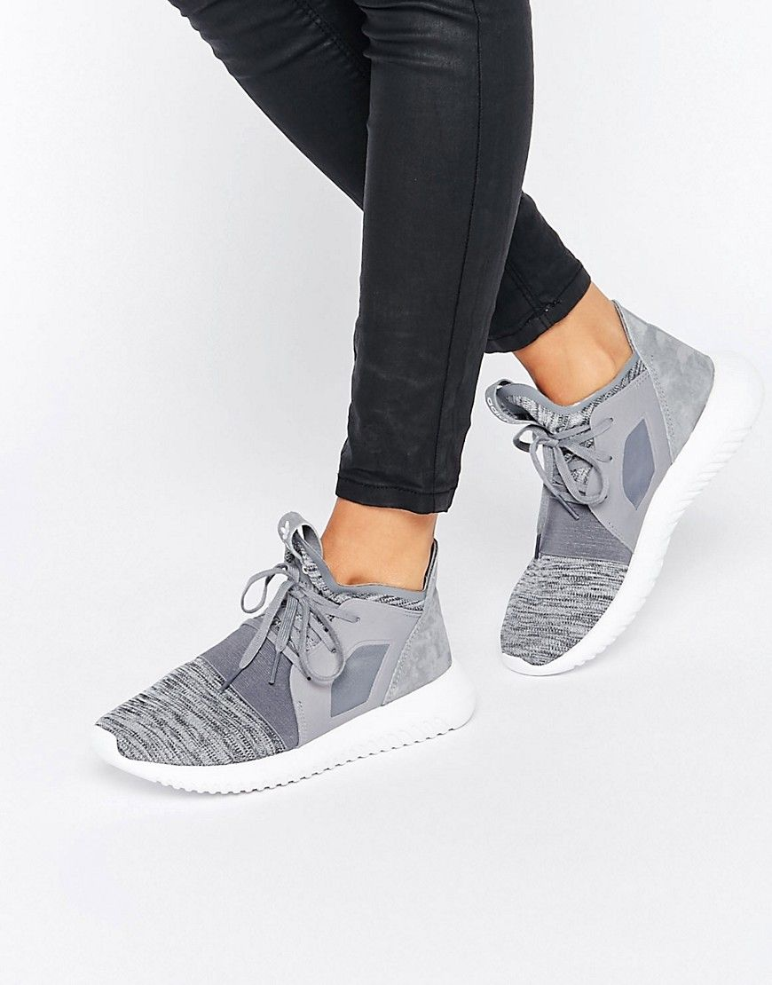 adidas Originals Gray Marl Tubular Defiant Sneakers at asos.com