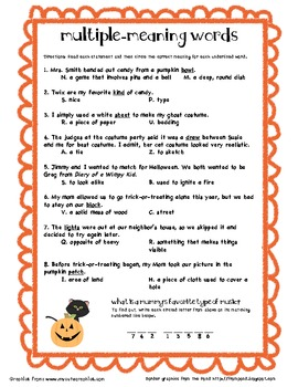 Multiple Meaning Words (Halloween) | Fourth Grade Fun | Multiple ...