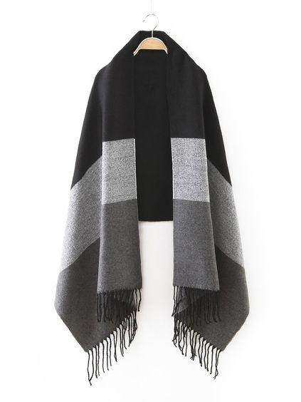 Echarpe en patchwork avec frange - noir   vêtements ROMWE ... 23a99406949