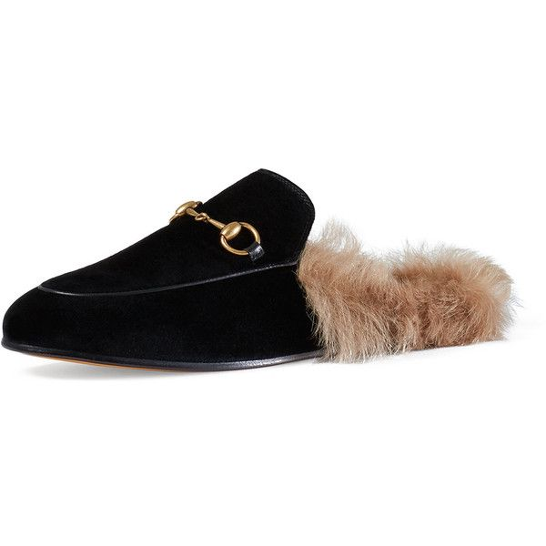 8f3951411 Gucci Princetown Velvet Fur-Lined Mule (£690) ❤ liked on Polyvore featuring  shoes, flats, gucci, sandals, nero, mule flats, fur lined slip on shoes, ...