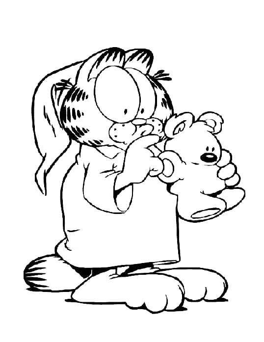 Garfield The Cat Want To Sleep Coloring Pages