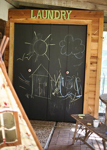 Diy Chalkboard Bi Fold Doors Bifold Doors Makeover Closet Doors Diy Sliding Door