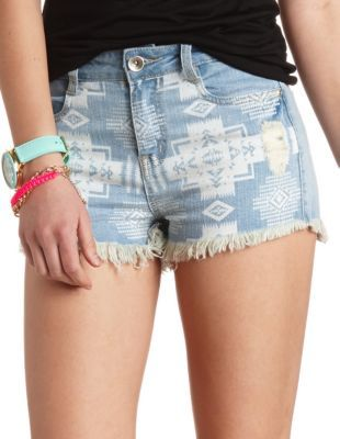 dollhouse distressed tribal denim shorts