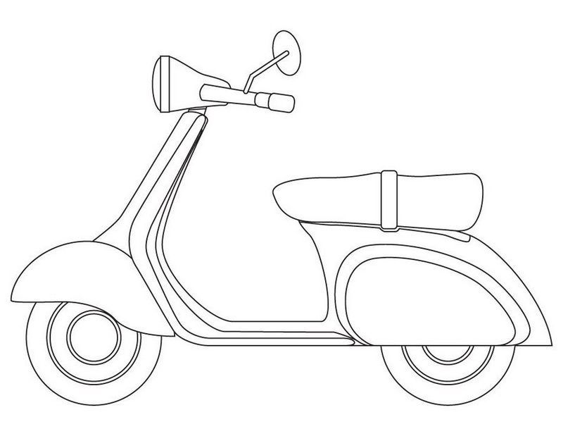 Vespa Italian Scooter Coloring Page Italian Scooter Vespa Coloring Pages