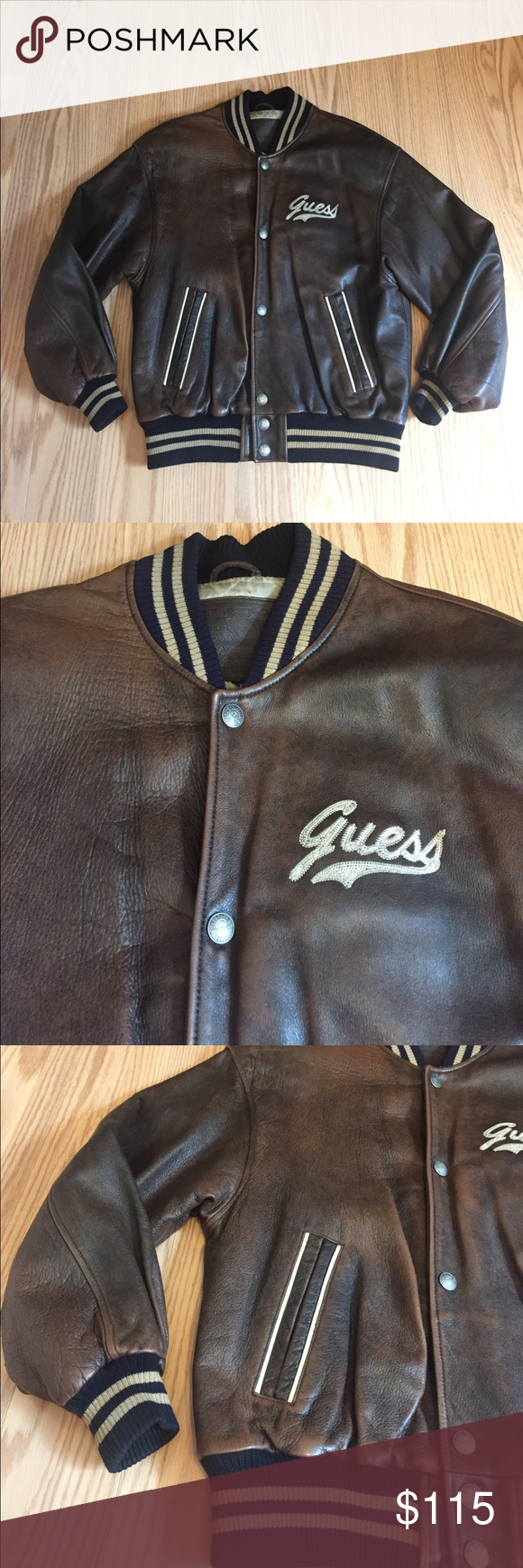 Guess Leather Bomber Jacket Small Vintage jacket from