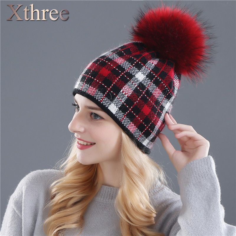 Xthree women winter real mink knitted hat pom poms wool rabbit fur hat for  women girls f3ce2e7aa9ff