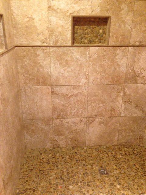 Stone Bathroom Stone Look Tile Stone Bathroom Pebble Shower Floor