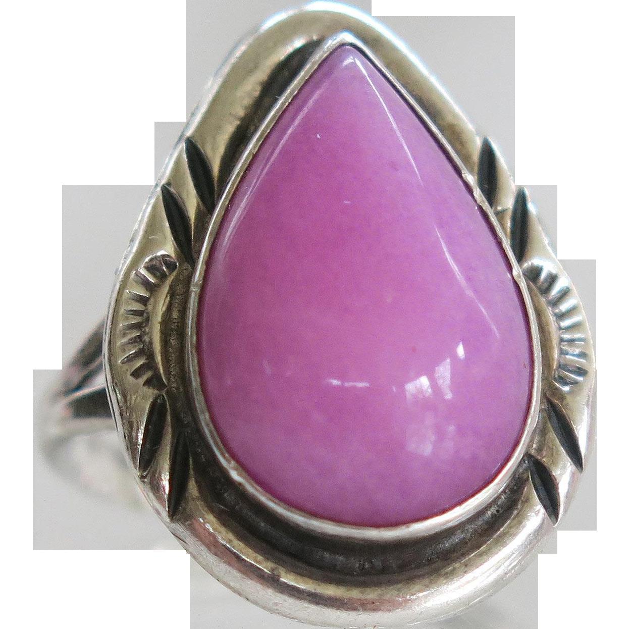 Sterling Navajo Nakai Pink Sugilite Ring Vintage Silver | Ruby Lane ...