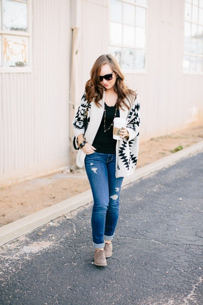 Aztec sweater, distressed jeans, oxford shoes and Marc Jacobs purse