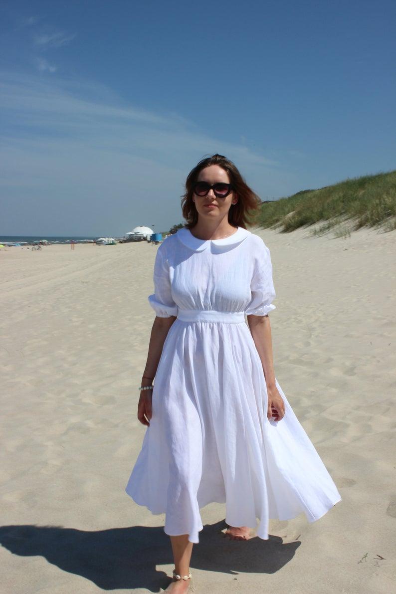 Linen Wedding Dress With Pockets Linen Maxi Dress High Waist Etsy In 2021 Linen Maxi Dress White Linen Dress Summer Linen Wedding Dress [ 1191 x 794 Pixel ]