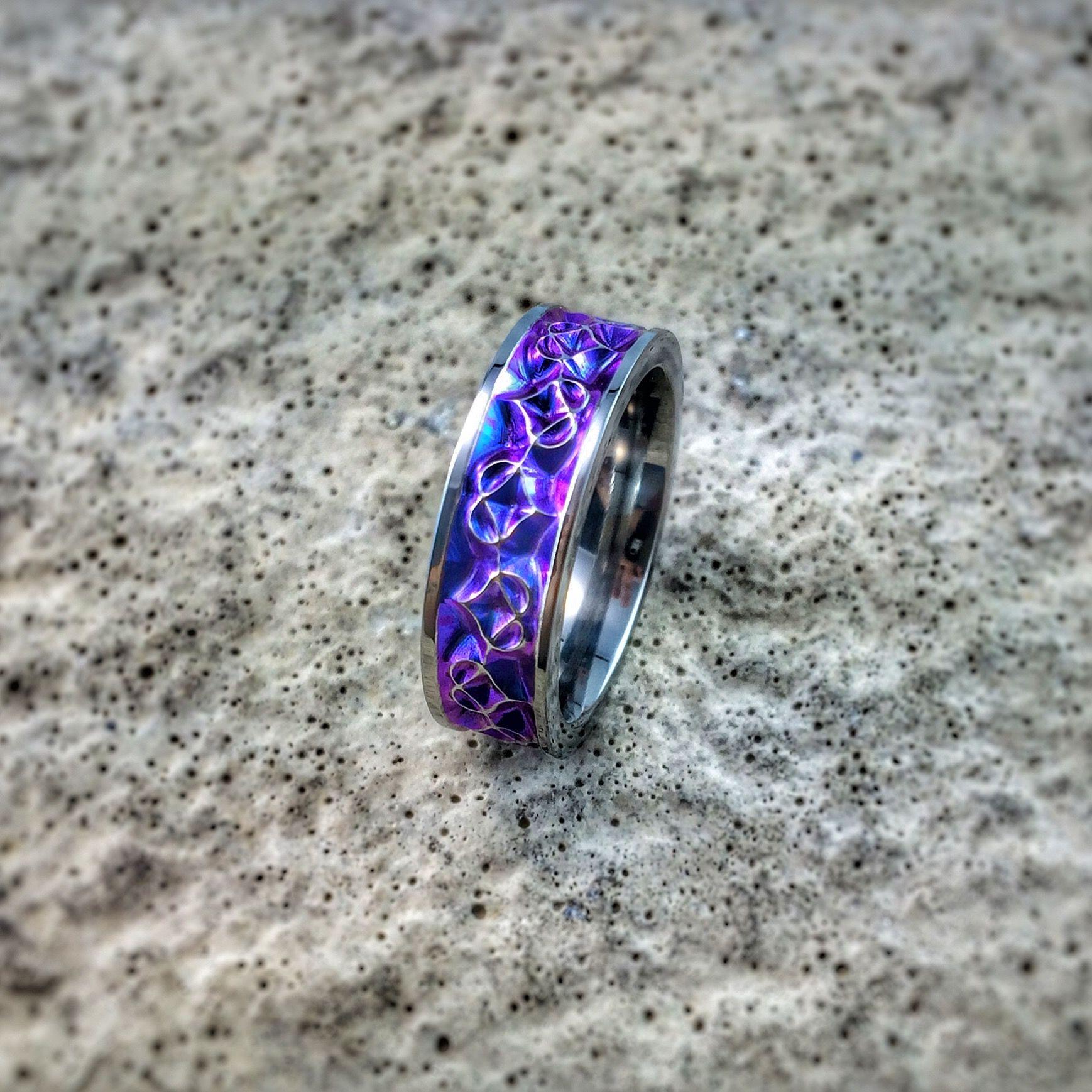 Amore womens titanium ring purple rings celtic