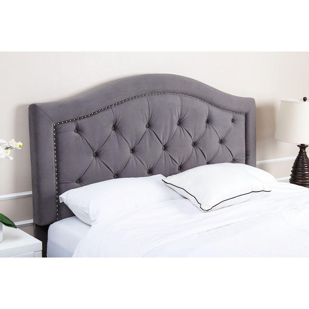 Abbyson Hillsdale Tufted Grey Velvet Headboard | Respaldos de cama y ...