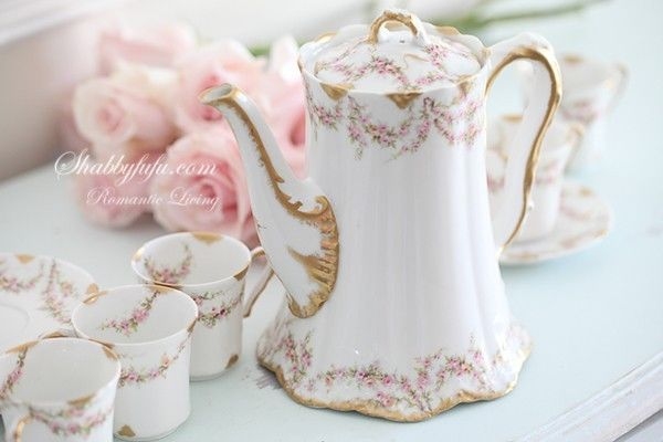 Antique Haviland Limoges Chocolate Pot Set Pink Roses-Pot-Six Cups and Saucers