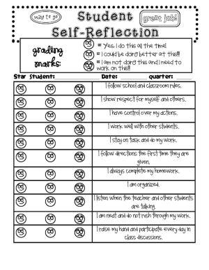 Student Self Reflection Form By Salbrecht  Behavior Management