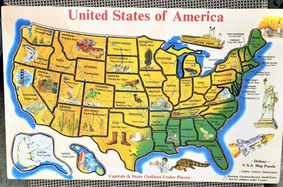 Wood Puzzle Usa 50 North America States Melissa Doug 18 X 11 5