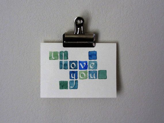 """Watercolor Tiles """"I Love You"""" Card"""
