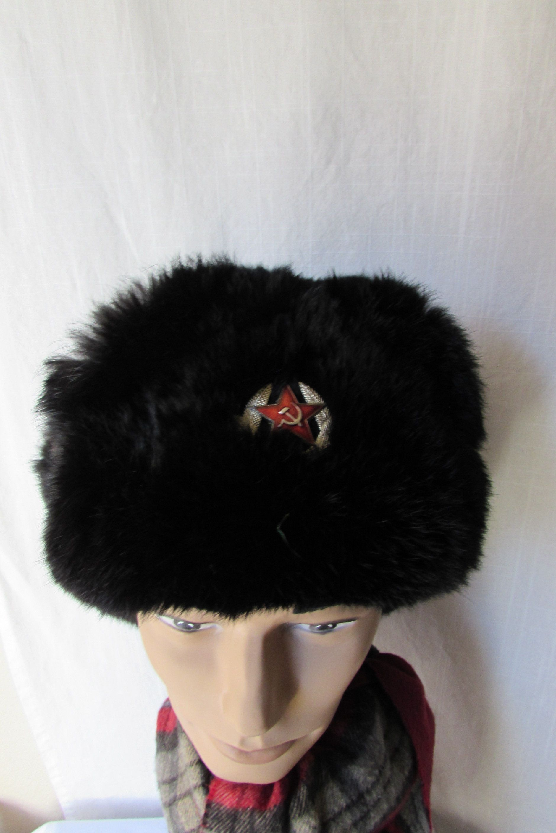NEW HAT WITH RED STARS RUSSIAN SOVIET BLACK WINTER SOLDIER ARMY HAT USHANKA