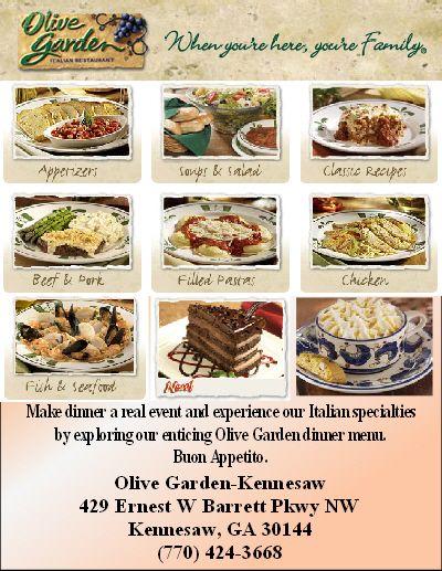 Catered By Olive Garden Dinner Menu Dinner Lake House Wedding