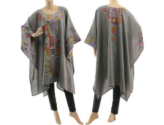 Grey boho linen poncho cape hand painted grey linen von classydress