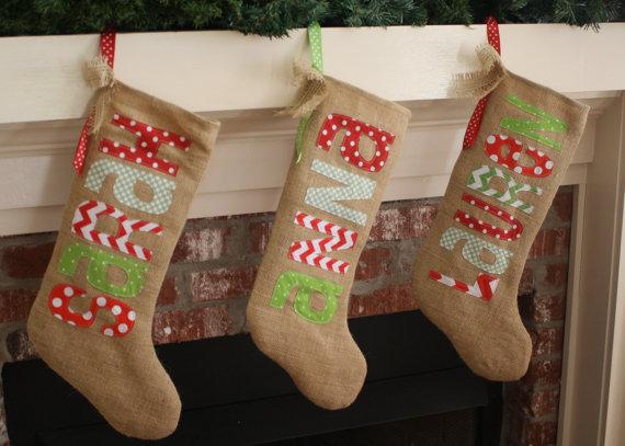 Burlap Christmas Stocking - Personalized - Traditional Christmas
