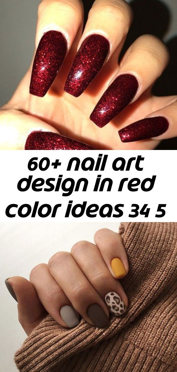 60+ nail art design in red color ideas 34 5