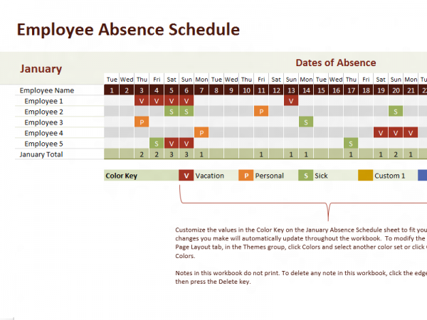 Employee Leave Record Excel Tracking Template   Excel Project