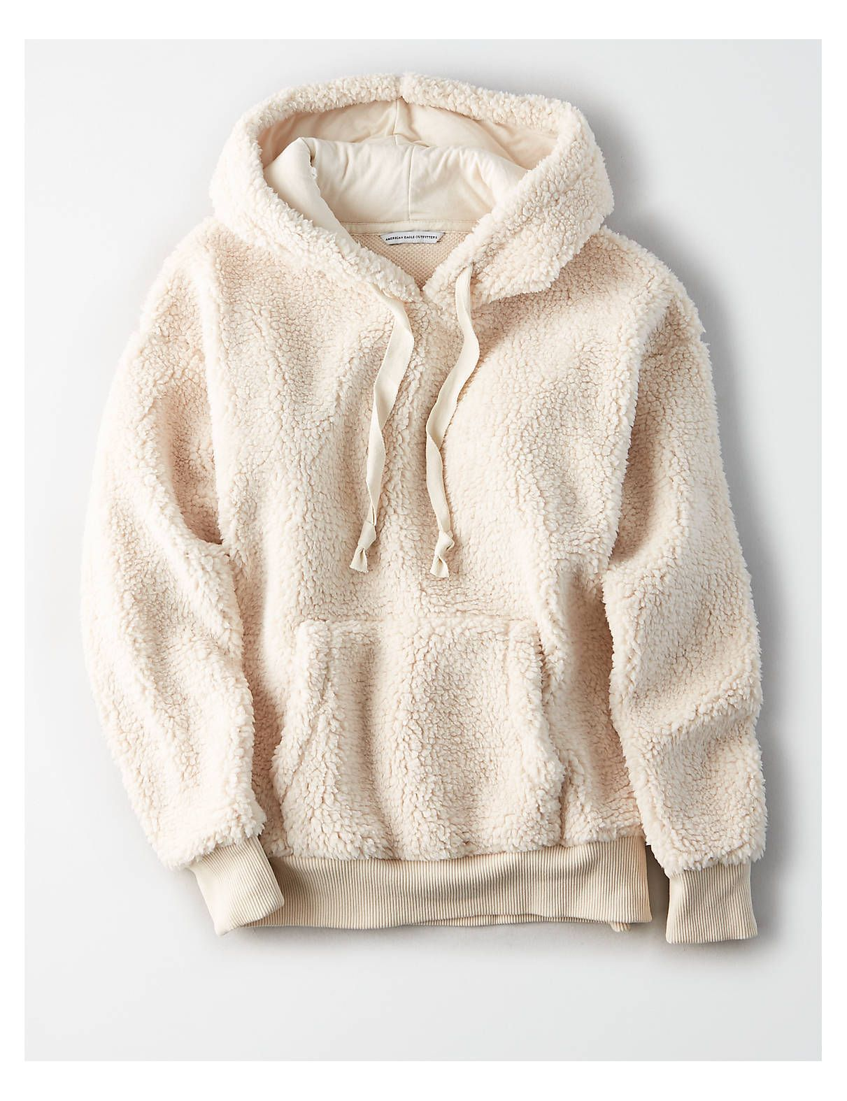 AE Fuzzy Teddy Sherpa Hoodie Cream  American Eagle Outfitters  Zubehör Adlerausstatter AE Fuzzy Teddy Sherpa Hoodie Cream  American Eagle Outfitters  Winter Outfits