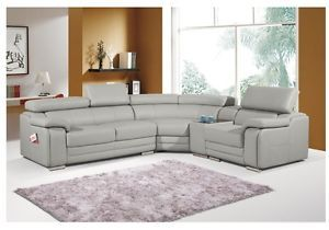 Dakota Taupe Light Grey Leather Corner Sofa Right Hand