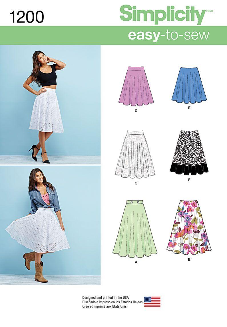 Simplicity Skirts & Pants-6-8-10-12-14, , hi-res Skirt pattern 1200 ...