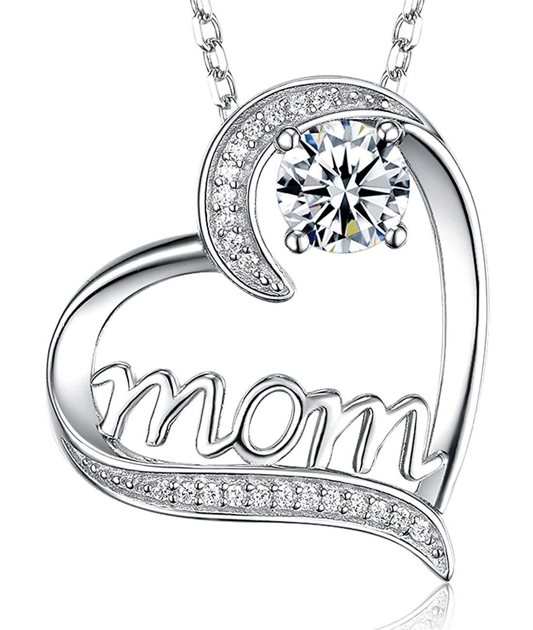 Diamond Pendant Mom Heart Necklace 18 Chain 925 Solid Sterling Silver Mothers Day Gifts