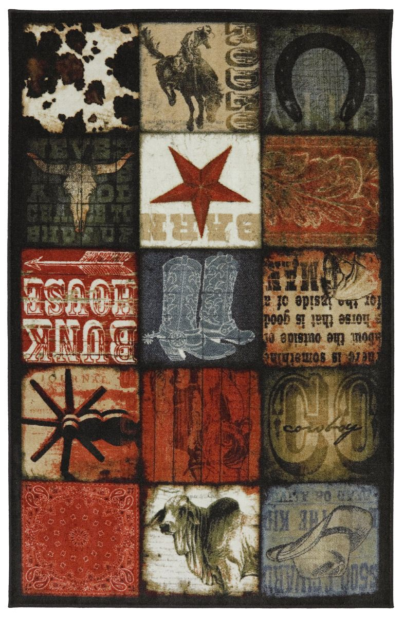Cowboy Patches Multi Rug Collection Western Area Rugs Area Rugs Rugs On Carpet