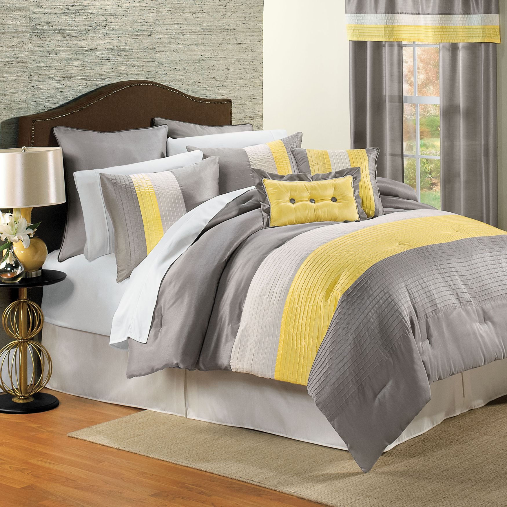 attractive grey of comforter white with combination yellow great and