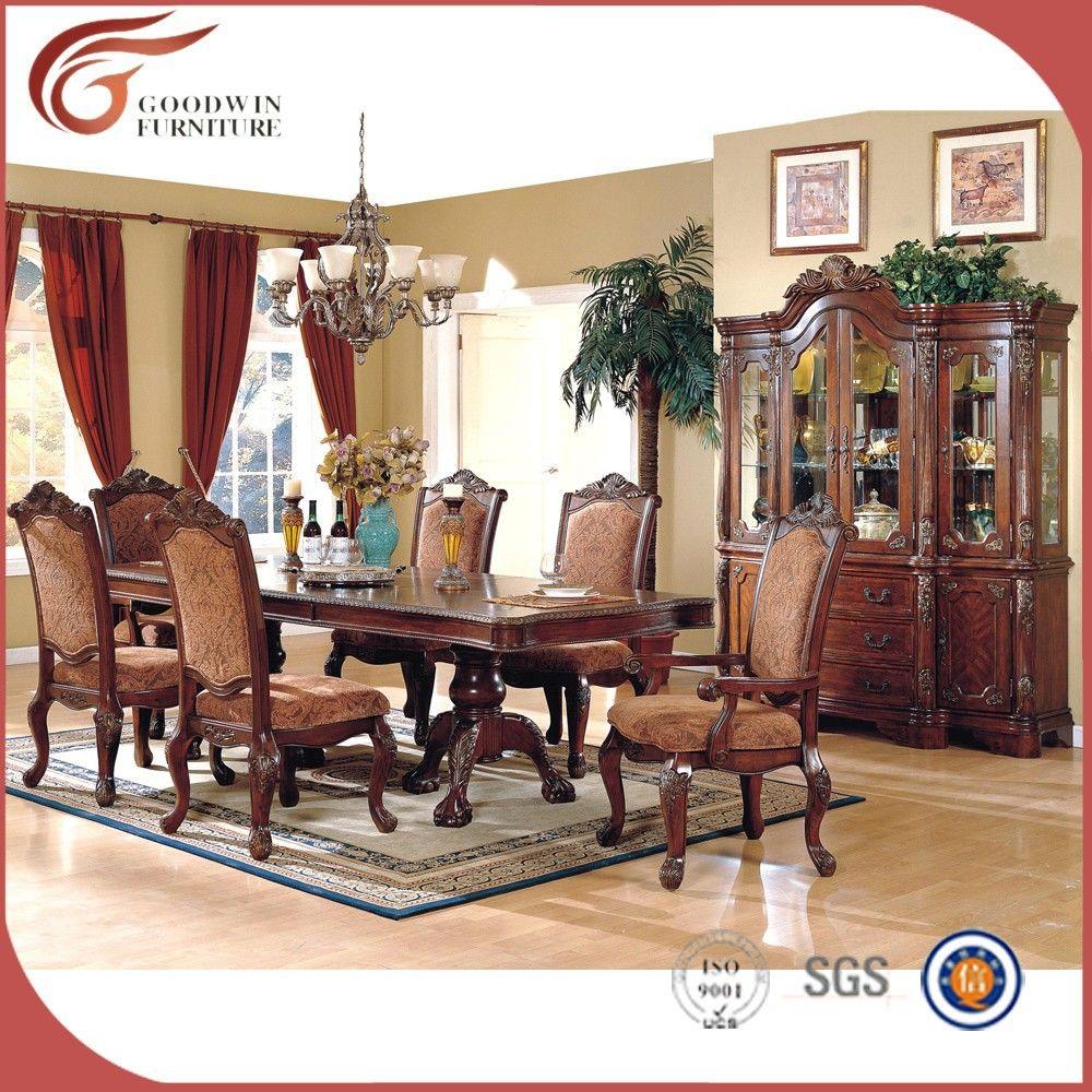 Madera maciza muebles de comedor, mano tallada antigua juego de ...