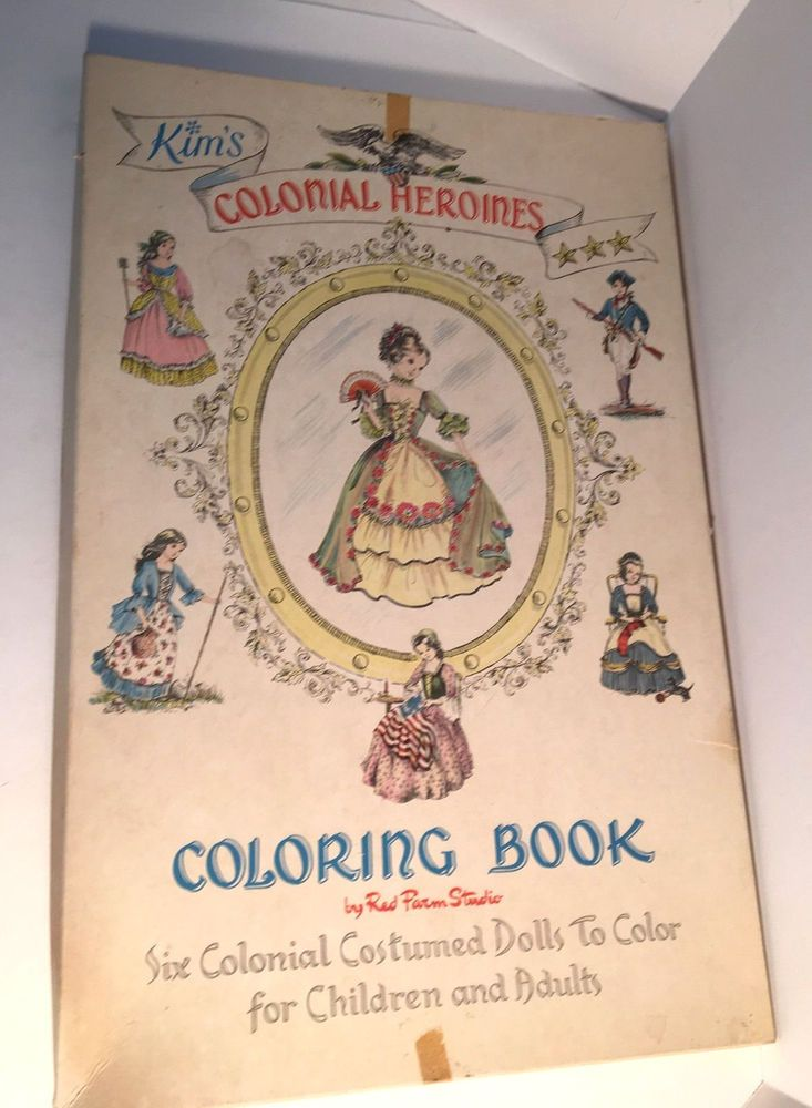 Vintage 1950s Colonial Heroines Coloring Book By Red Farm Studio ...