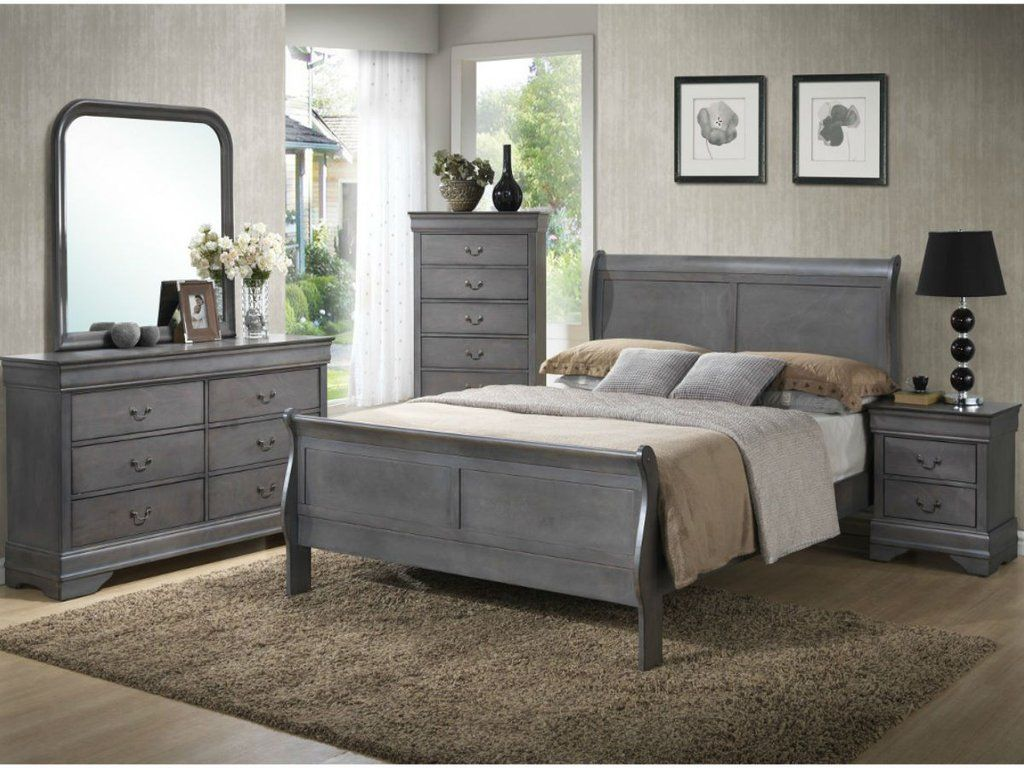 Country Chic Solid Wood Sleigh Bedroom Dark Gray By Lifestyle