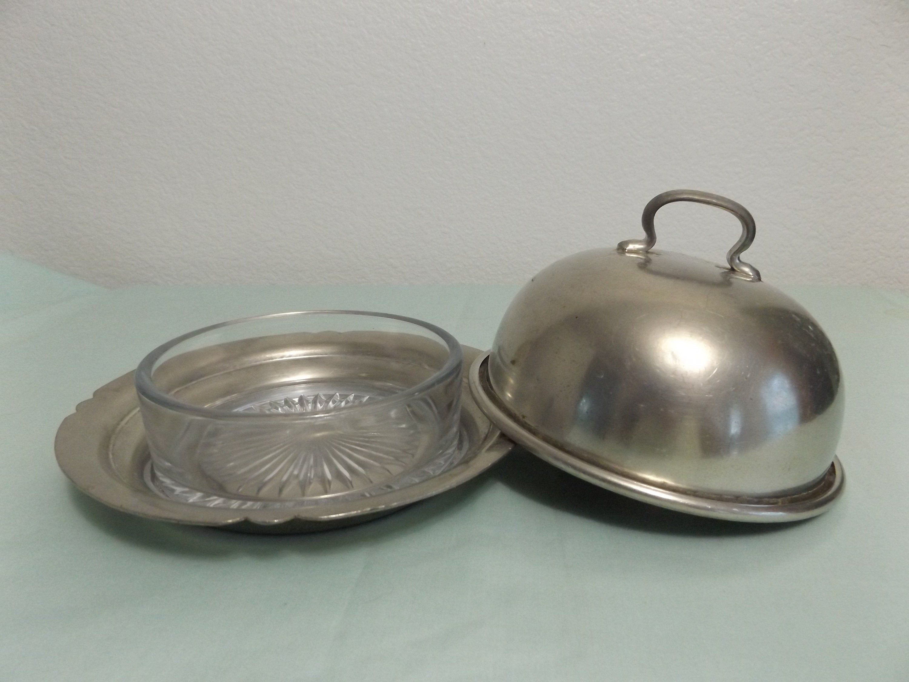 Vintage Pewter Butter Dish W Domed Lid And Glass Insert Three Piece Round Cheese Dish Butter Dish Cheese Dishes Butter