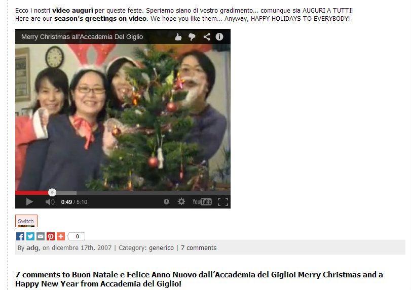 Questi erano i nostri videoauguri del 2007... gli anni passano ma la gioia con cui vi auguriamo buon natale resta... Auguri a tutti!  http://www.adgblog.it/2007/12/17/buon-natale-e-felice-anno-nuovo-dallaccademia-del-giglio-merry-christmas-and-a-happy-new-year-from-accademia-del-giglio/