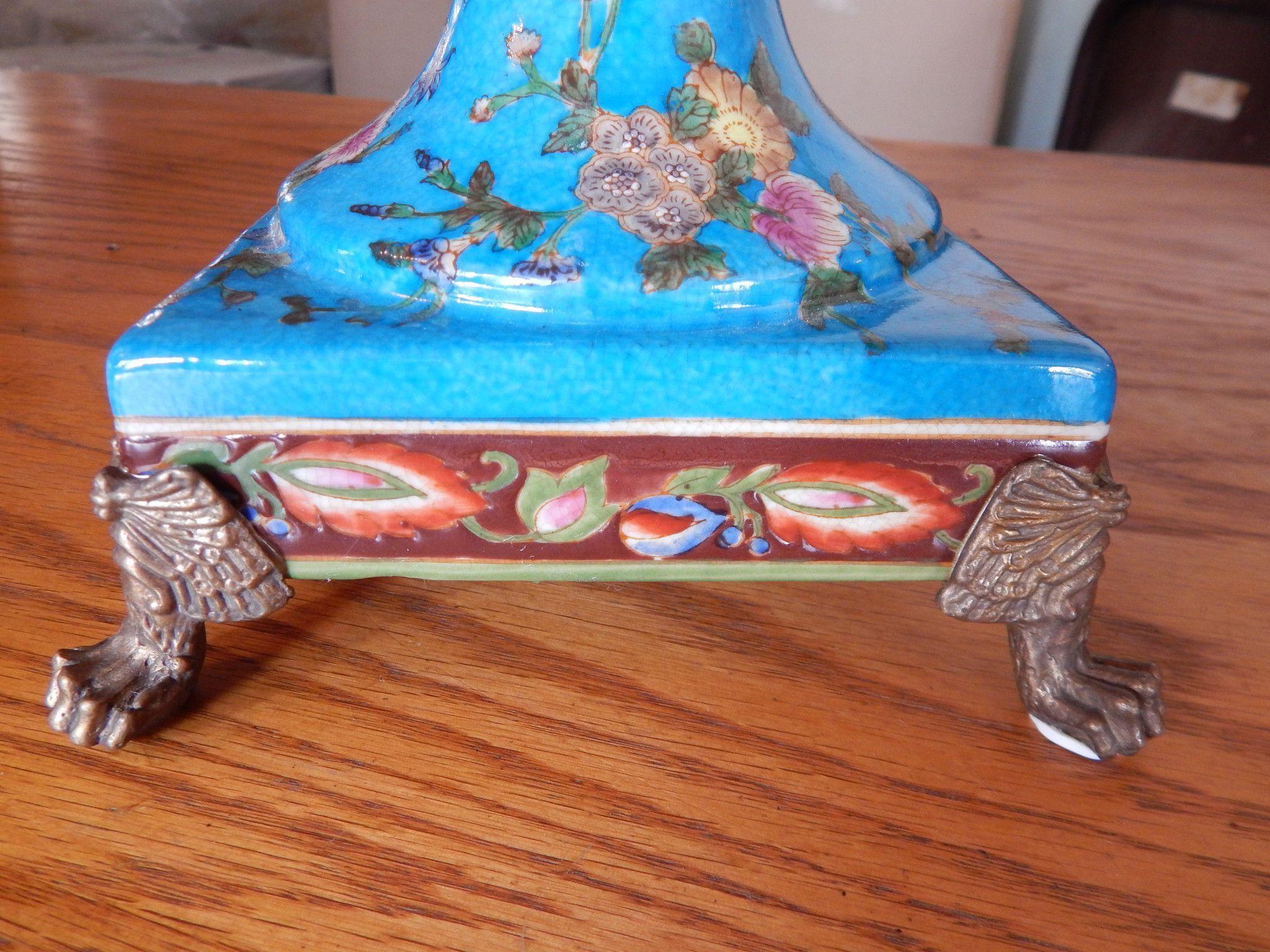 Sevres Porcelain  Blue Vase French W Gilt Bronze Ormolu