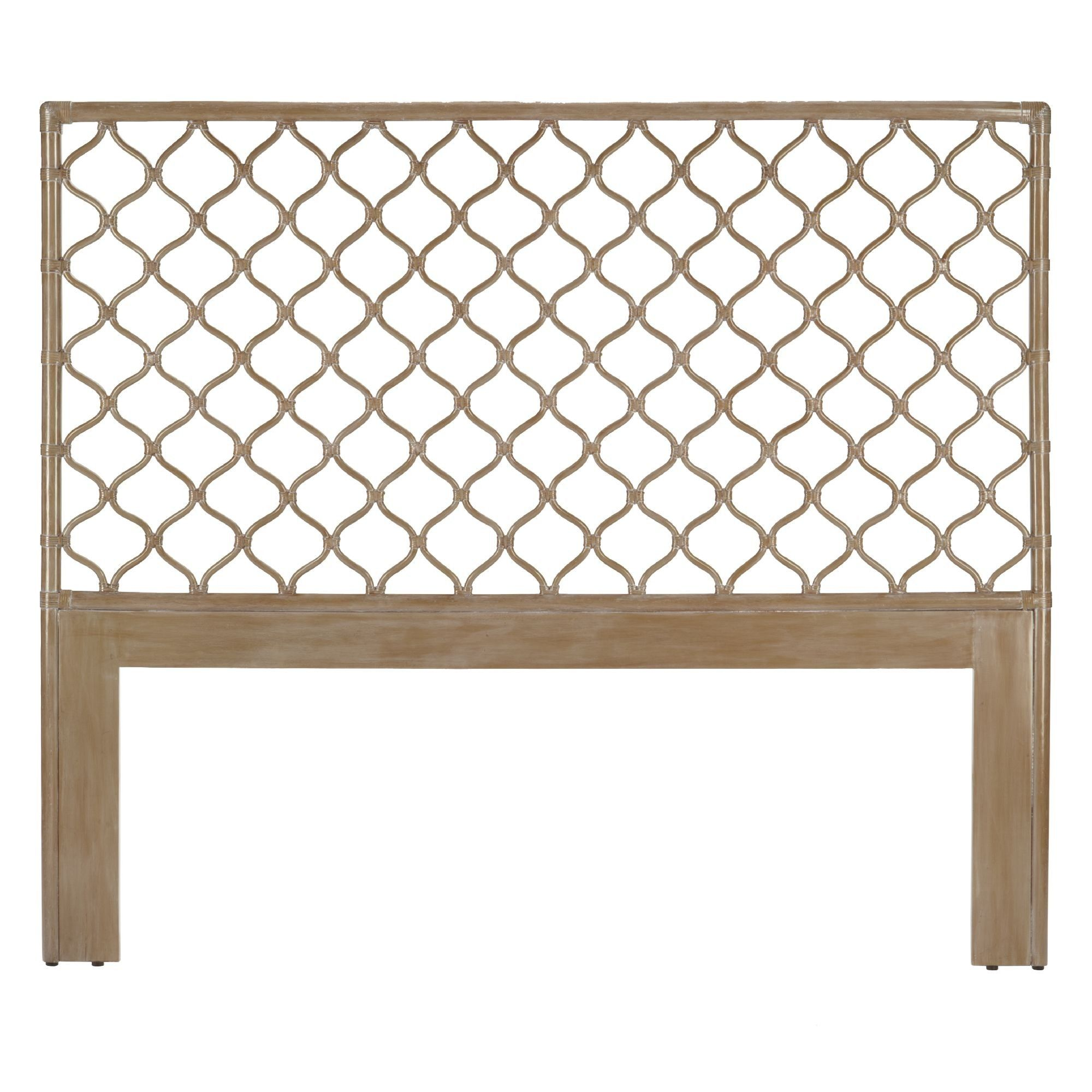 Leather wrapped rattan pole headboard creates graphic airy textured dcor with Berber inspired lattice. Pair with wood or rattan to create a unique bedroom environment.