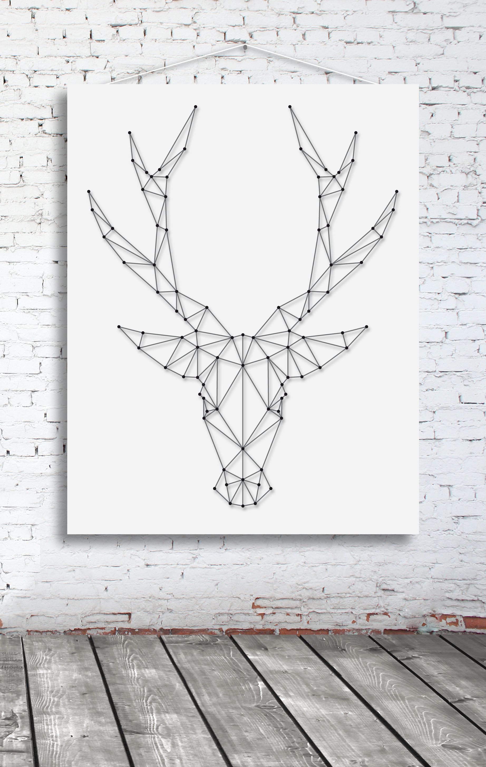 String-art pattern sheet DEER BIG (65 x 50cm) available at ...