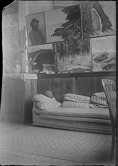 Citation: Studio of Claude Monet, Giverny, France, between 1899 and 1909 / Lilla Cabot Perry, photographer. Lilla Cabot Perry photographs, Archives of American Art, Smithsonian Institution.
