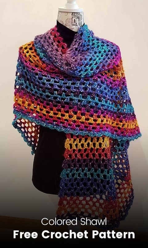 Colored Shawl Free Crochet Pattern #crochet #crafts #homemade ...