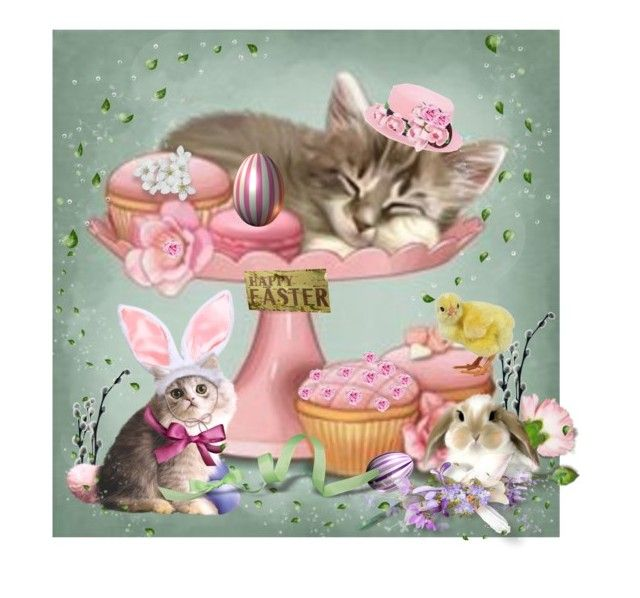 """""""Cats in Easter Hats"""" by catfabricsandbuttons ❤ liked on Polyvore featuring art and cats"""