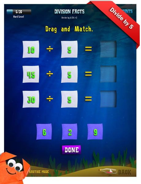 Third Grade Math Apps Division facts Divide by 5